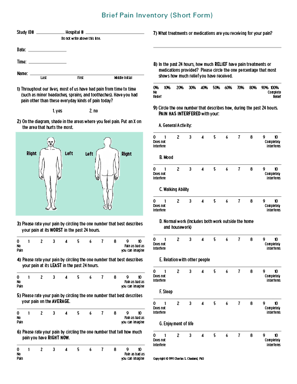 Brief Pain Inventory fisioscience